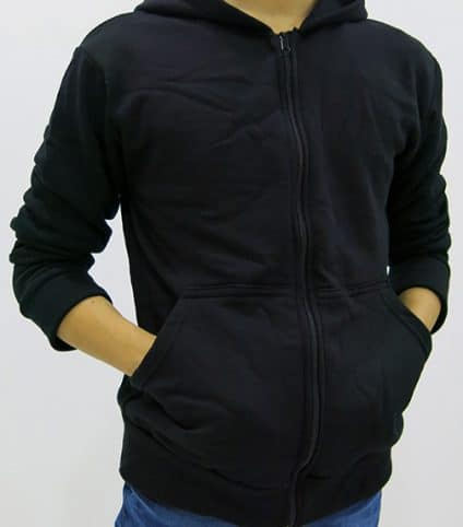 hoodie men black zip through