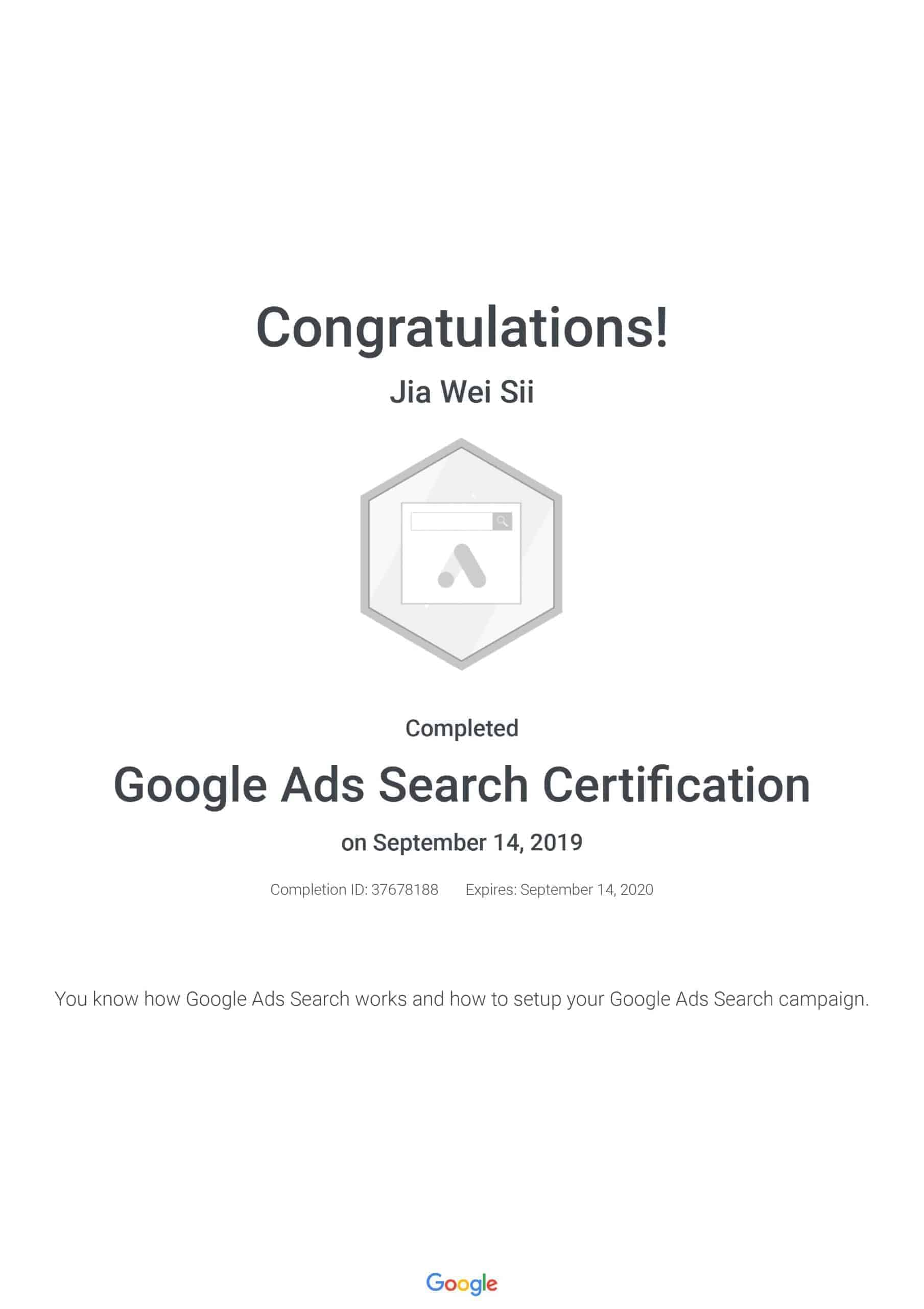 Google Ads Search Certification - Jia Wei