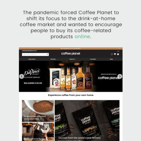 coffee planet website layout